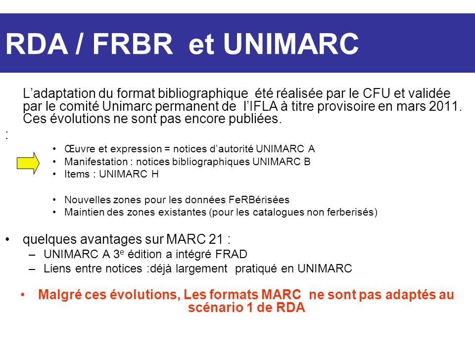 Ladaptation du format bibliographique été réalisée par le CFU et validée par le comité Unimarc permanent de lIFLA à titre provisoire en mars 2011. Ces