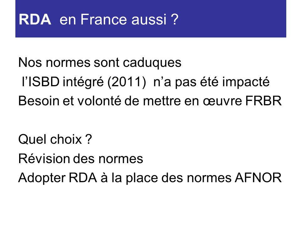 Nos normes sont caduques lISBD intégré (2011) na pas été impacté Besoin et volonté de mettre en œuvre FRBR Quel choix ? Révision des normes Adopter RD