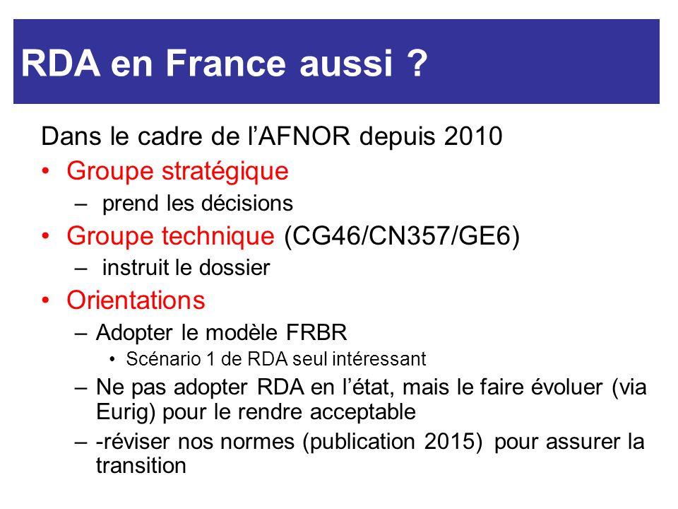 RDA et nous Dans le cadre de lAFNOR depuis 2010 Groupe stratégique – prend les décisions Groupe technique (CG46/CN357/GE6) – instruit le dossier Orien