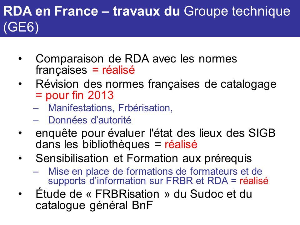 Comparaison de RDA avec les normes françaises = réalisé Révision des normes françaises de catalogage = pour fin 2013 –Manifestations, Frbérisation, –D