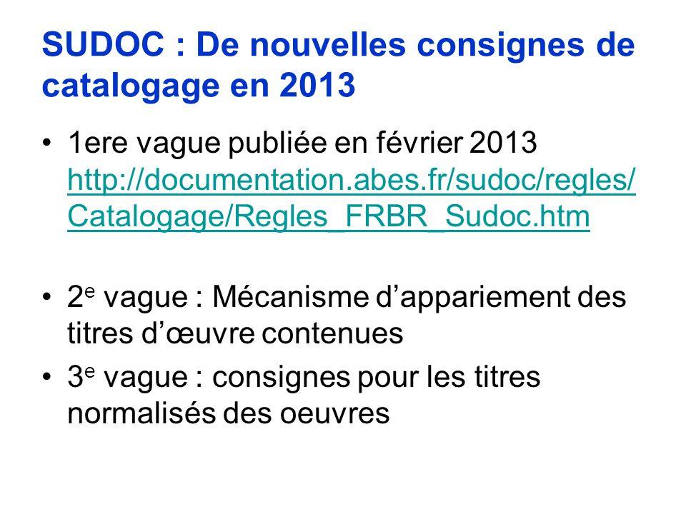 SUDOC : De nouvelles consignes de catalogage en 2013 1ere vague publiée en février 2013 http://documentation.abes.fr/sudoc/regles/ Catalogage/Regles_F
