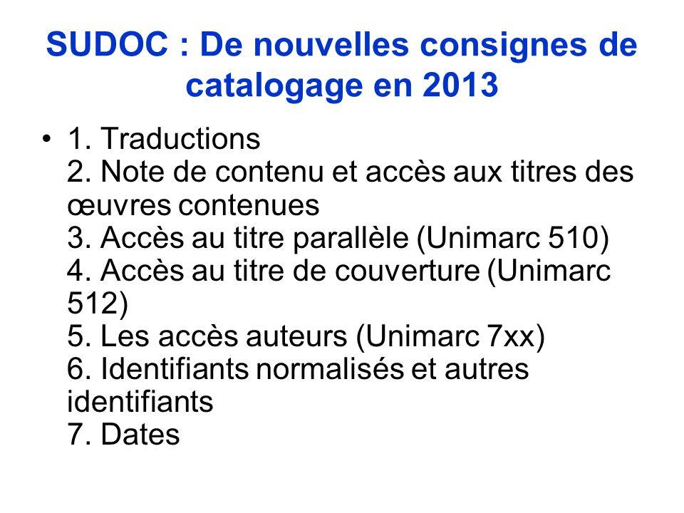 SUDOC : De nouvelles consignes de catalogage en 2013 1. Traductions 2. Note de contenu et accès aux titres des œuvres contenues 3. Accès au titre para