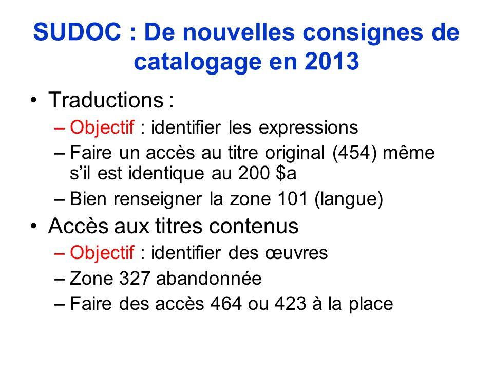 SUDOC : De nouvelles consignes de catalogage en 2013 Traductions : –Objectif : identifier les expressions –Faire un accès au titre original (454) même