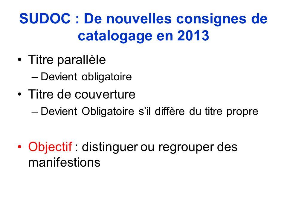 SUDOC : De nouvelles consignes de catalogage en 2013 Titre parallèle –Devient obligatoire Titre de couverture –Devient Obligatoire sil diffère du titr