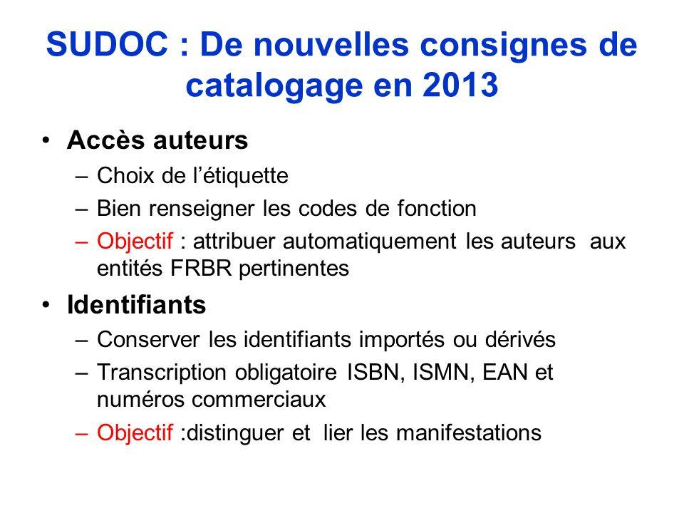 SUDOC : De nouvelles consignes de catalogage en 2013 Accès auteurs –Choix de létiquette –Bien renseigner les codes de fonction –Objectif : attribuer a