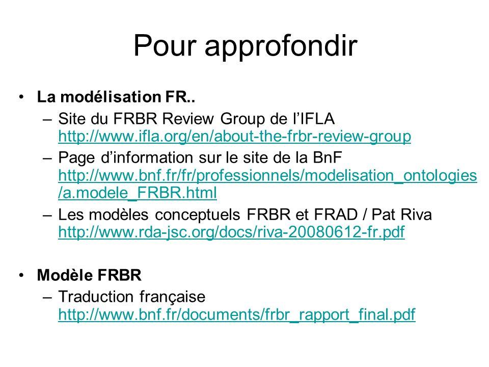 Pour approfondir La modélisation FR.. –Site du FRBR Review Group de lIFLA http://www.ifla.org/en/about-the-frbr-review-group http://www.ifla.org/en/ab