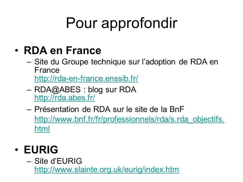 Pour approfondir RDA en France –Site du Groupe technique sur ladoption de RDA en France http://rda-en-france.enssib.fr/ http://rda-en-france.enssib.fr