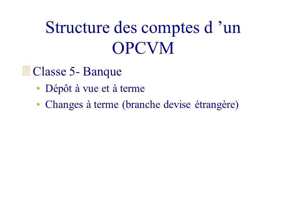 Structure des comptes d un OPCVM 3Classe 5- Banque Dépôt à vue et à terme Changes à terme (branche devise étrangère)