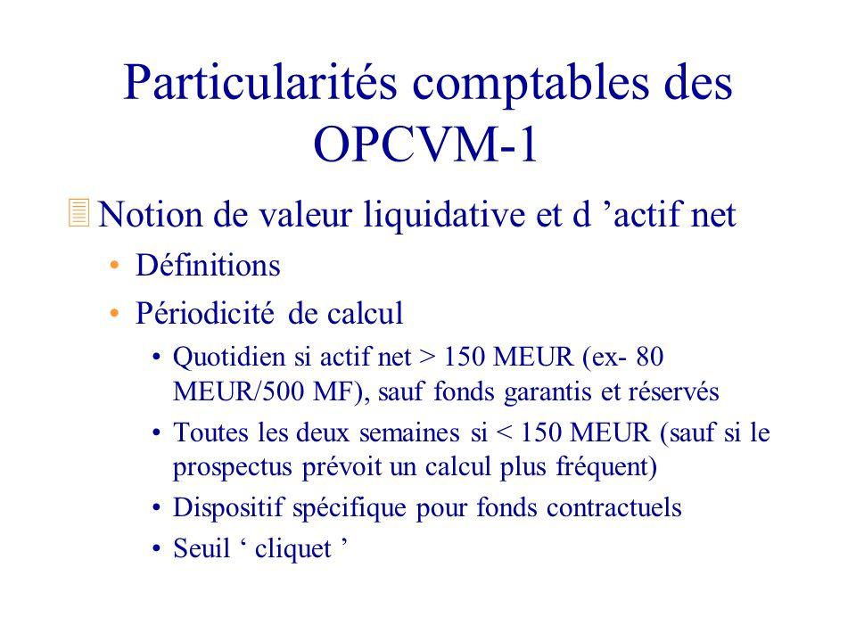 Particularités comptables des OPCVM-1 3Notion de valeur liquidative et d actif net Définitions Périodicité de calcul Quotidien si actif net > 150 MEUR