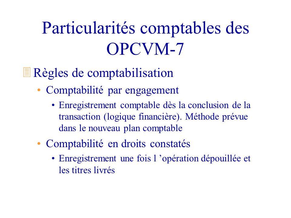 Particularités comptables des OPCVM-7 3Règles de comptabilisation Comptabilité par engagement Enregistrement comptable dès la conclusion de la transac