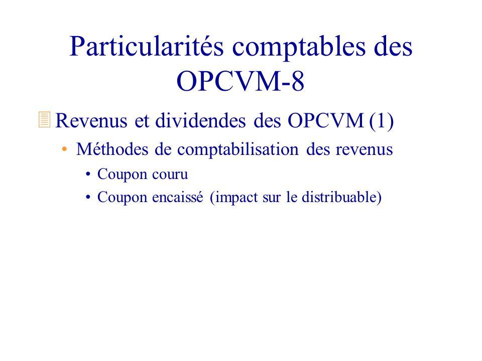 Particularités comptables des OPCVM-8 3Revenus et dividendes des OPCVM (1) Méthodes de comptabilisation des revenus Coupon couru Coupon encaissé (impa