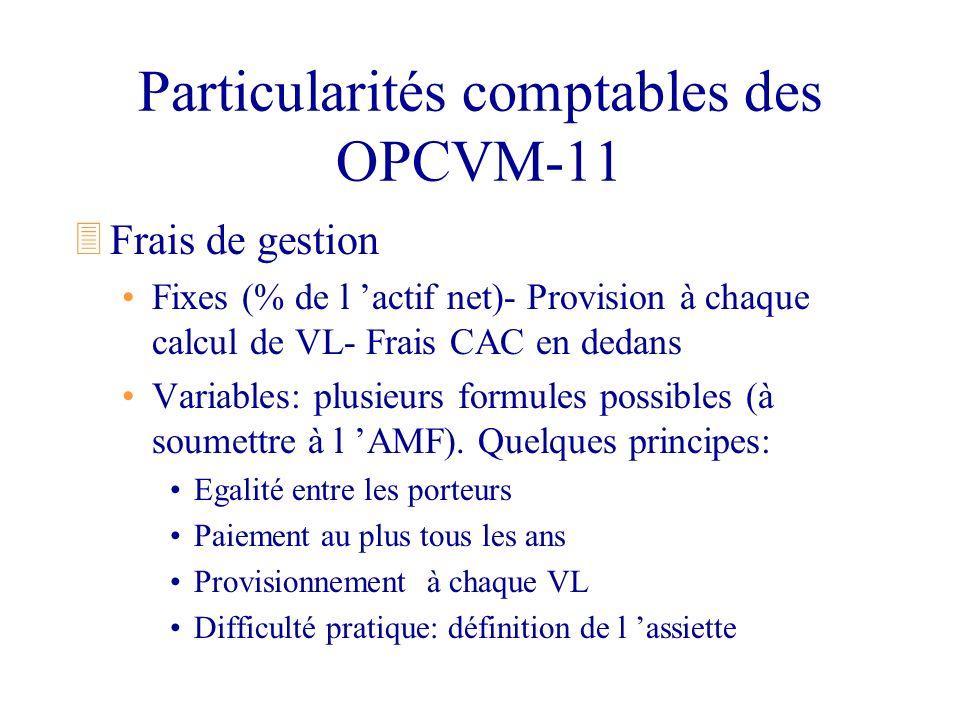 Particularités comptables des OPCVM-11 3Frais de gestion Fixes (% de l actif net)- Provision à chaque calcul de VL- Frais CAC en dedans Variables: plu