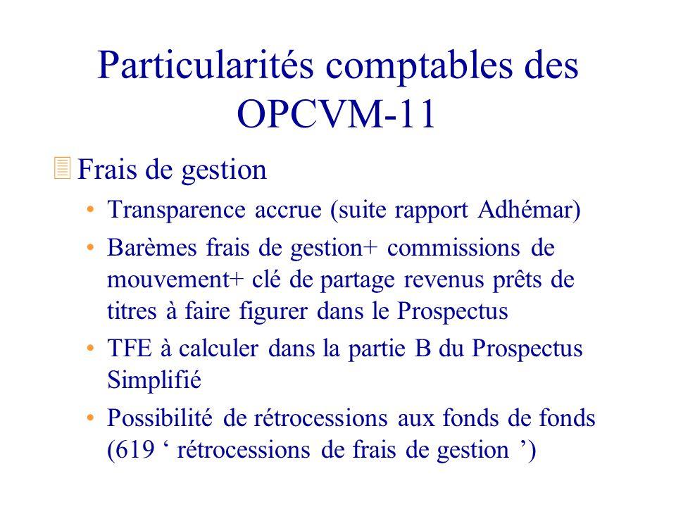Particularités comptables des OPCVM-11 3Frais de gestion Transparence accrue (suite rapport Adhémar) Barèmes frais de gestion+ commissions de mouvemen
