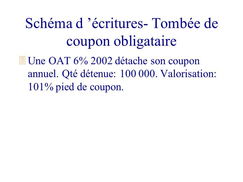 Schéma d écritures- Tombée de coupon obligataire 3Une OAT 6% 2002 détache son coupon annuel. Qté détenue: 100 000. Valorisation: 101% pied de coupon.