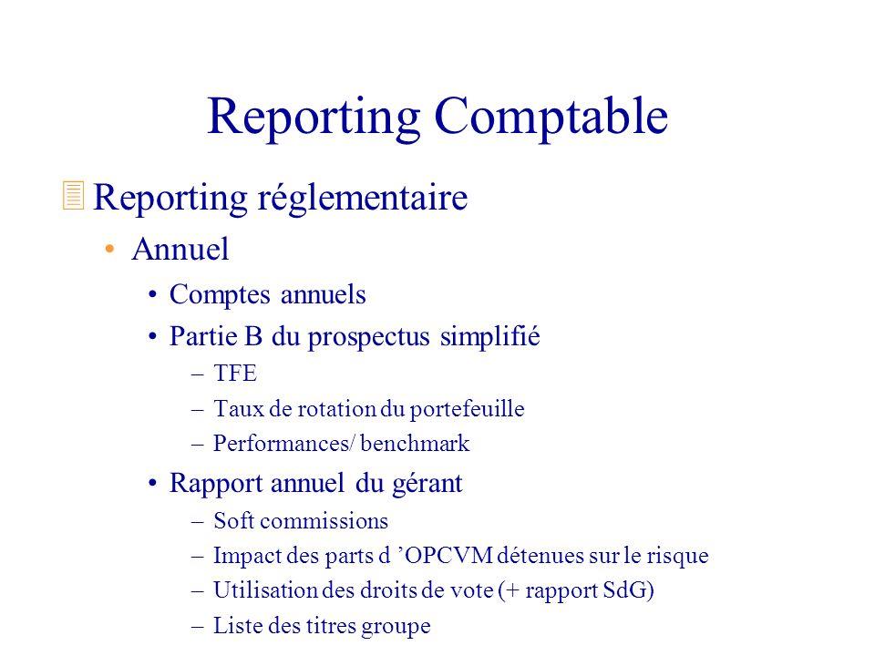 Reporting Comptable 3Reporting réglementaire Annuel Comptes annuels Partie B du prospectus simplifié –TFE –Taux de rotation du portefeuille –Performan
