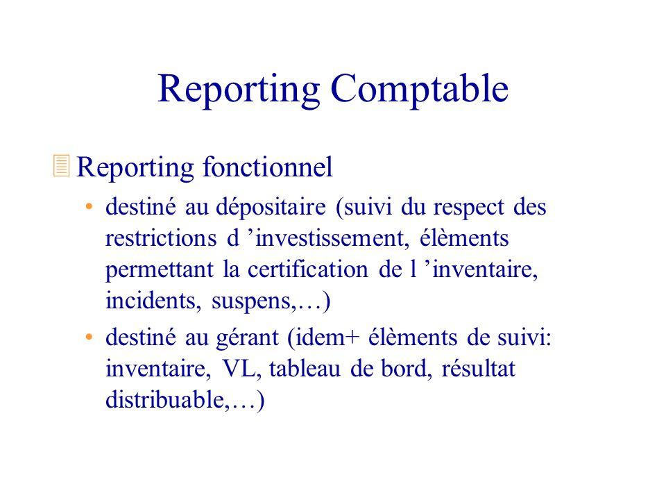 Reporting Comptable 3Reporting fonctionnel destiné au dépositaire (suivi du respect des restrictions d investissement, élèments permettant la certific