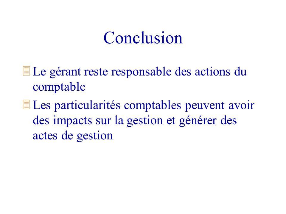 Conclusion 3Le gérant reste responsable des actions du comptable 3Les particularités comptables peuvent avoir des impacts sur la gestion et générer de