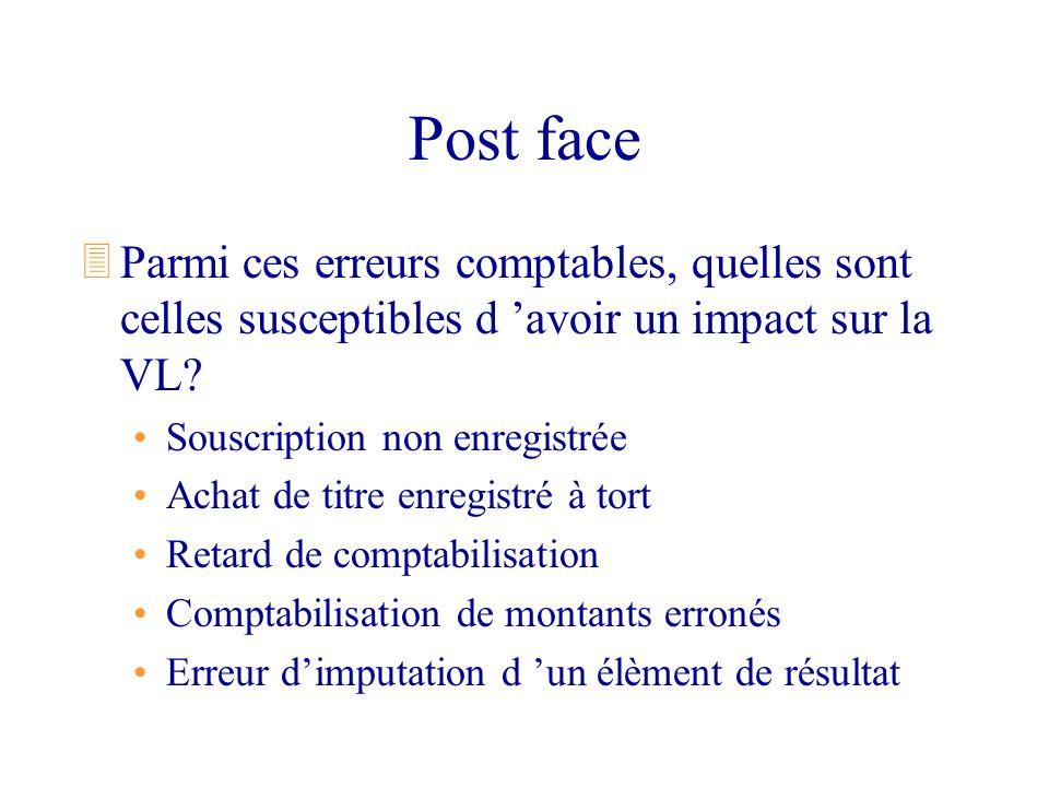 Post face 3Parmi ces erreurs comptables, quelles sont celles susceptibles d avoir un impact sur la VL? Souscription non enregistrée Achat de titre enr