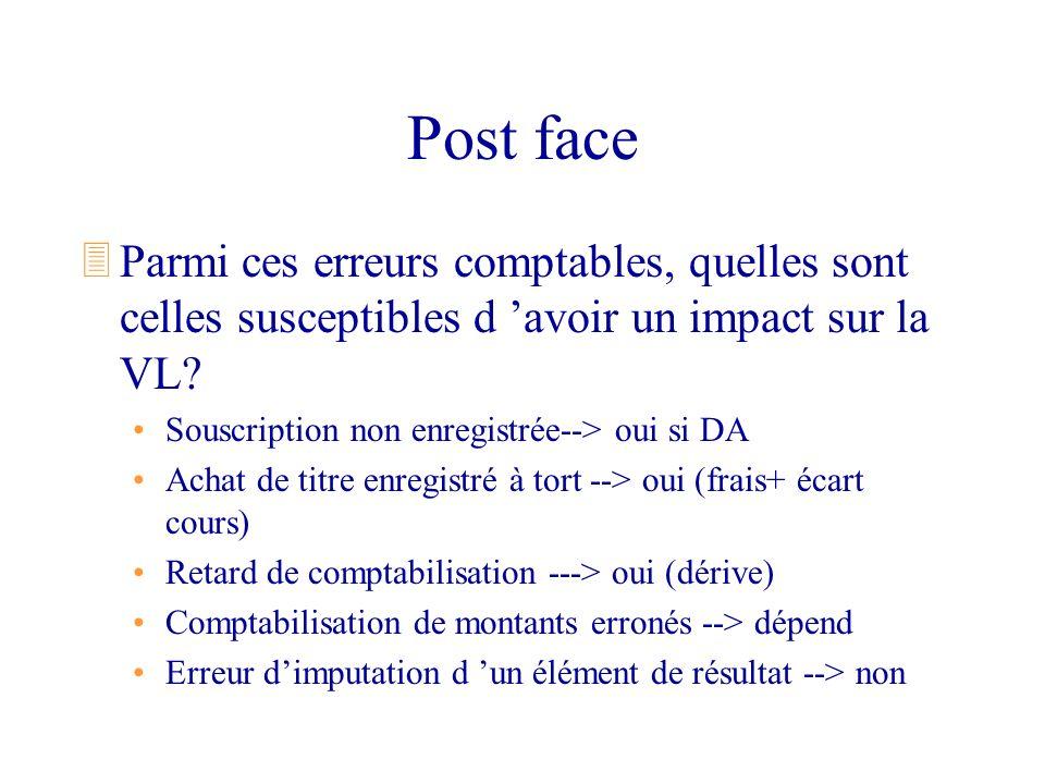 Post face 3Parmi ces erreurs comptables, quelles sont celles susceptibles d avoir un impact sur la VL? Souscription non enregistrée--> oui si DA Achat