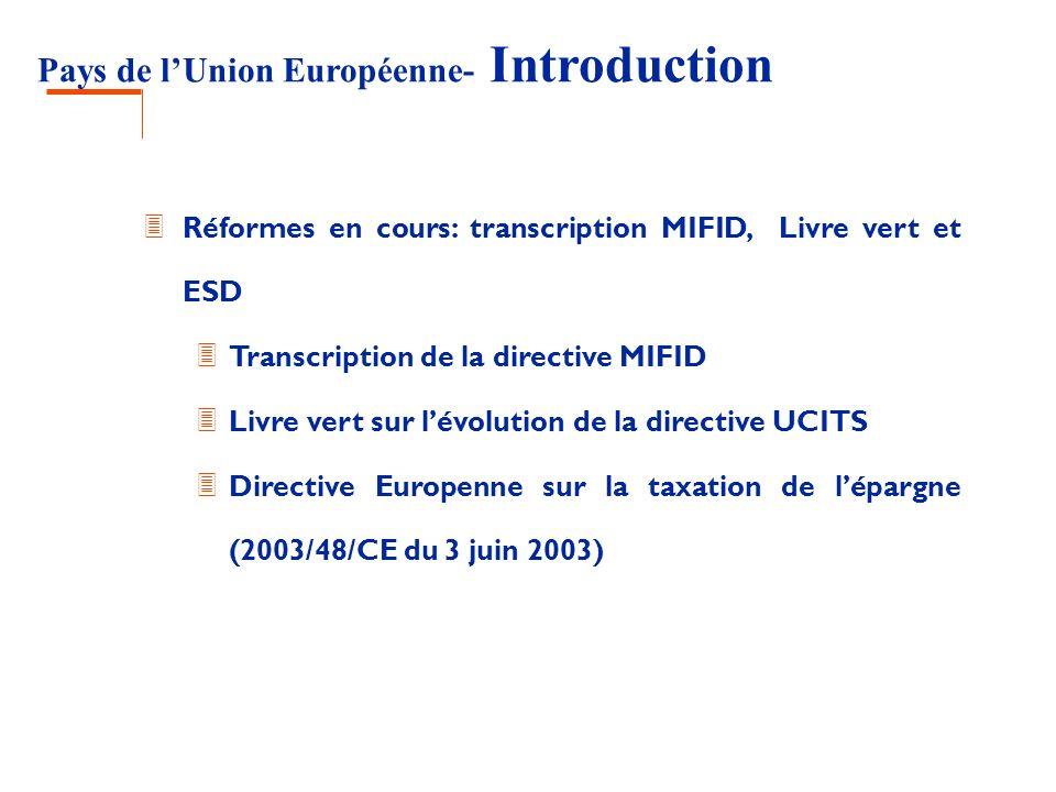 Pays de lUnion Européenne- Introduction 3 Réformes en cours: transcription MIFID, Livre vert et ESD 3 Transcription de la directive MIFID 3 Livre vert