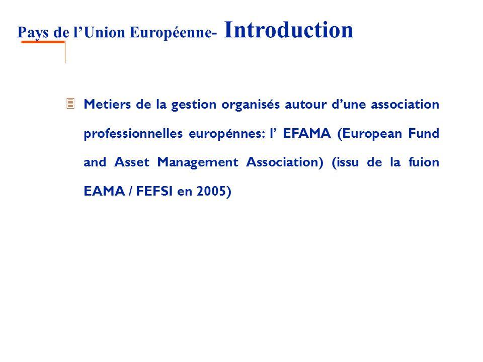 Pays de lUnion Européenne- Introduction 3 Metiers de la gestion organisés autour dune association professionnelles europénnes: l EFAMA (European Fund