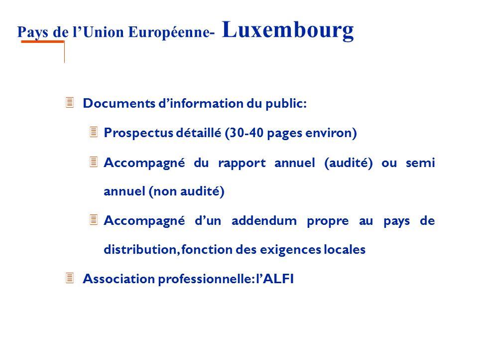 Pays de lUnion Européenne- Luxembourg 3 Documents dinformation du public: 3 Prospectus détaillé (30-40 pages environ) 3 Accompagné du rapport annuel (