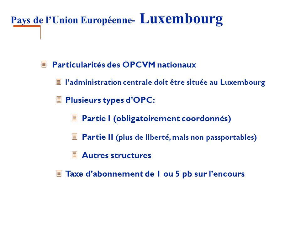 Pays de lUnion Européenne- Luxembourg 3 Particularités des OPCVM nationaux 3 ladministration centrale doit être située au Luxembourg 3 Plusieurs types