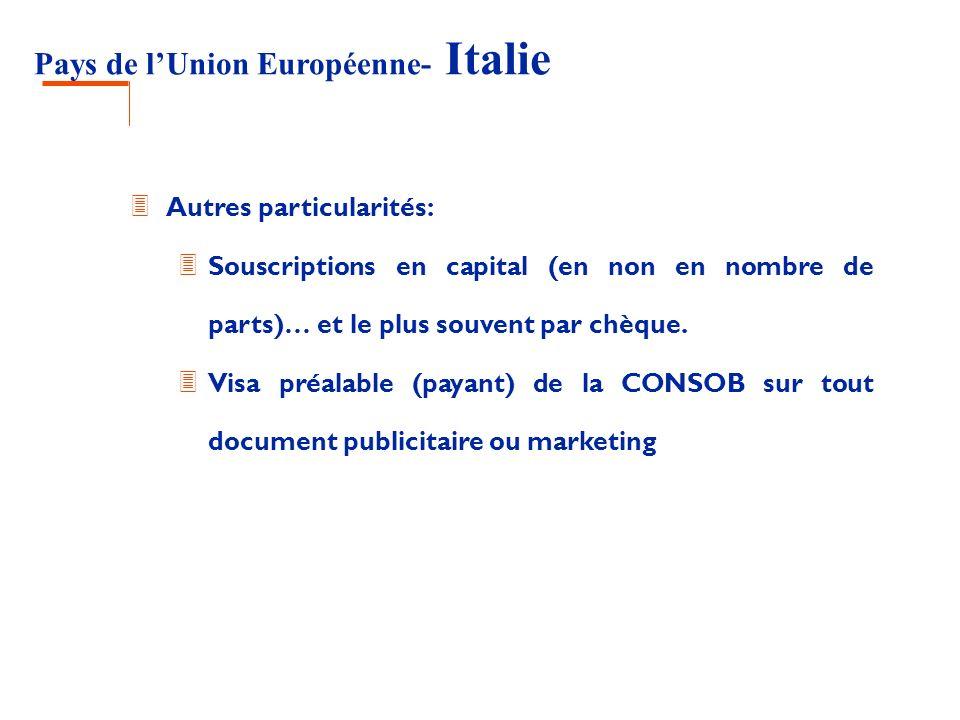 Pays de lUnion Européenne- Italie 3 Autres particularités: 3 Souscriptions en capital (en non en nombre de parts)… et le plus souvent par chèque. 3 Vi