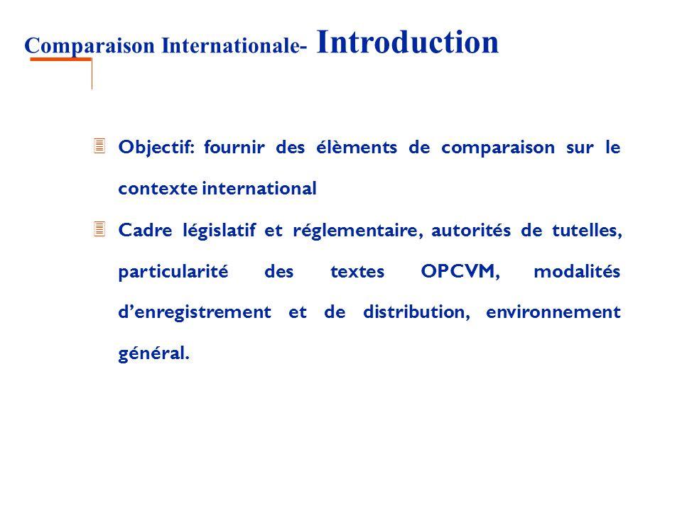Comparaison Internationale - Conclusion 3 Règles de protection de linvestisseur plus ou moins renforcées, mais souvent similaires: 3 Règles compliance: information des investisseurs, règles déontologiques 3 Règles de division des risques 3 Conditions dagrément des sociétés de gestion 3 Difficulté= connaissance de la jurisprudence