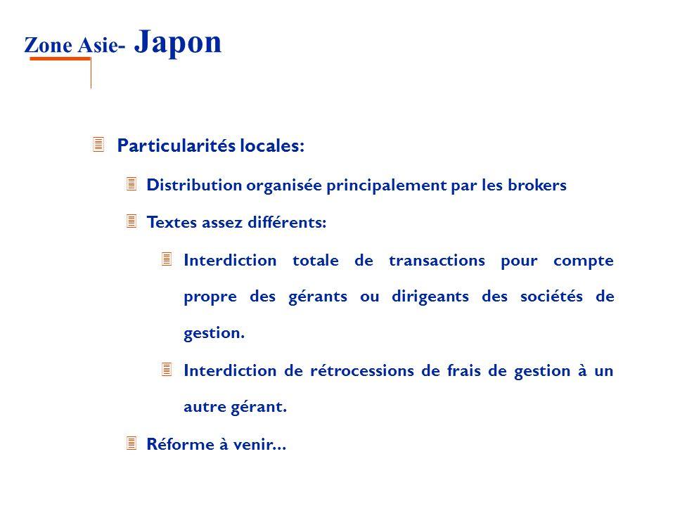 Zone Asie- Japon 3 Particularités locales: 3 Distribution organisée principalement par les brokers 3 Textes assez différents: 3 Interdiction totale de