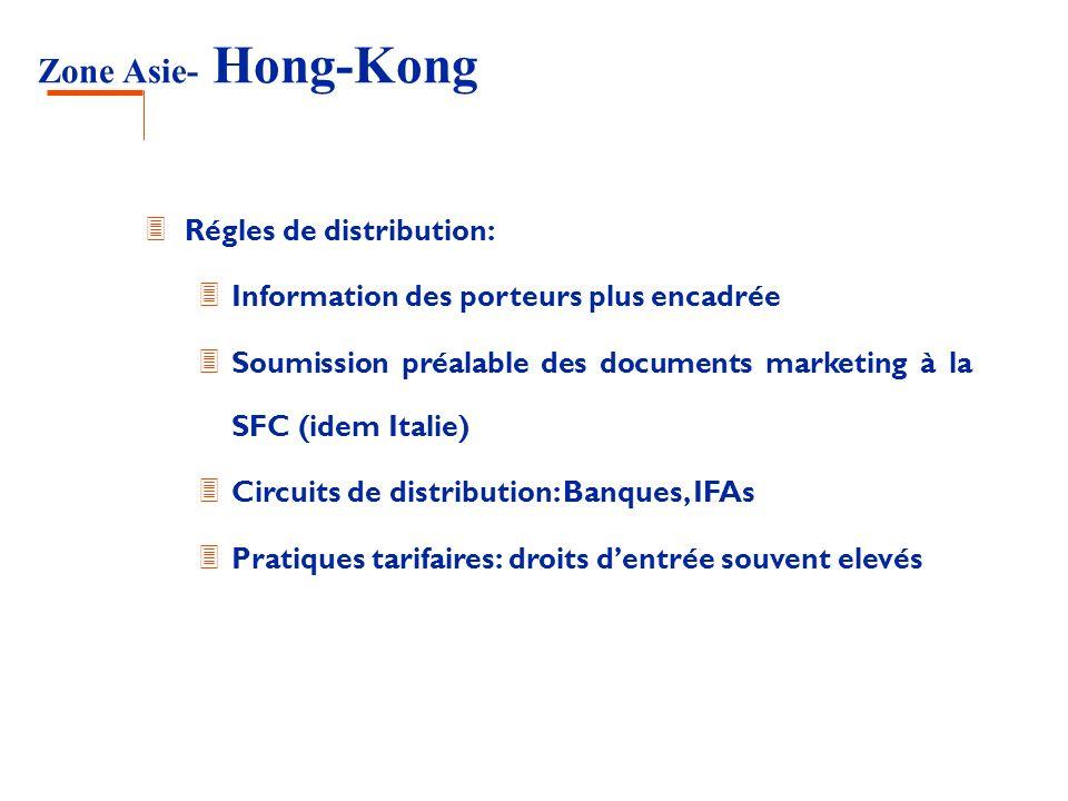 Zone Asie- Hong-Kong 3 Régles de distribution: 3 Information des porteurs plus encadrée 3 Soumission préalable des documents marketing à la SFC (idem