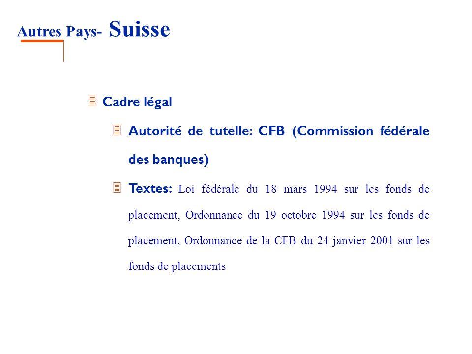 Autres Pays- Suisse 3 Cadre légal 3 Autorité de tutelle: CFB (Commission fédérale des banques) Textes: Loi fédérale du 18 mars 1994 sur les fonds de p