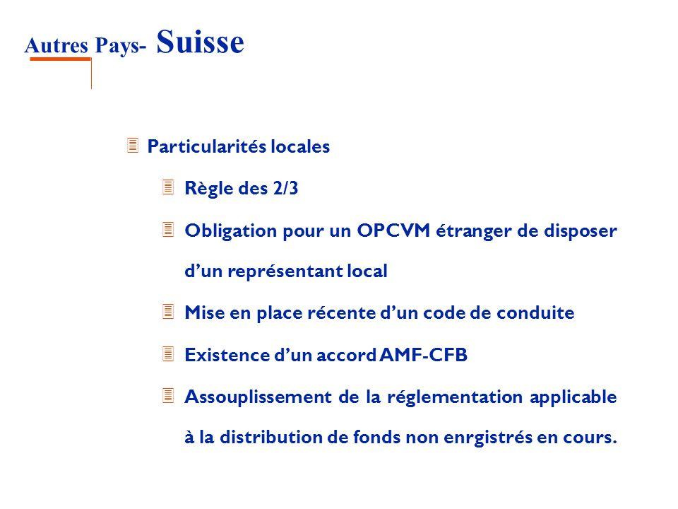 Autres Pays- Suisse 3 Particularités locales 3 Règle des 2/3 3 Obligation pour un OPCVM étranger de disposer dun représentant local 3 Mise en place ré