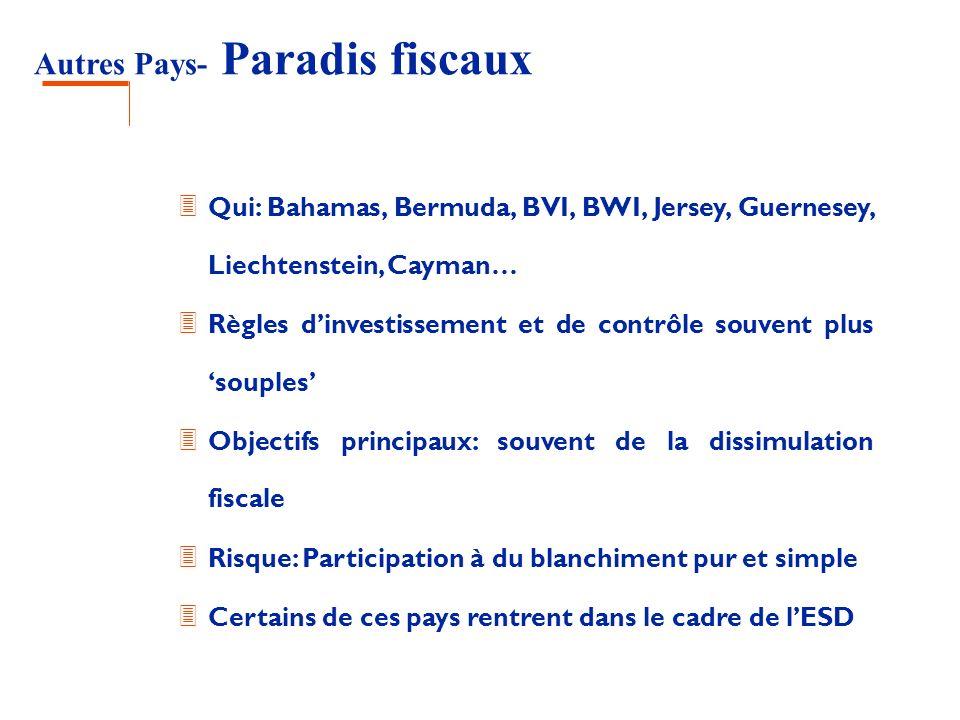 Autres Pays- Paradis fiscaux 3 Qui: Bahamas, Bermuda, BVI, BWI, Jersey, Guernesey, Liechtenstein, Cayman… 3 Règles dinvestissement et de contrôle souv