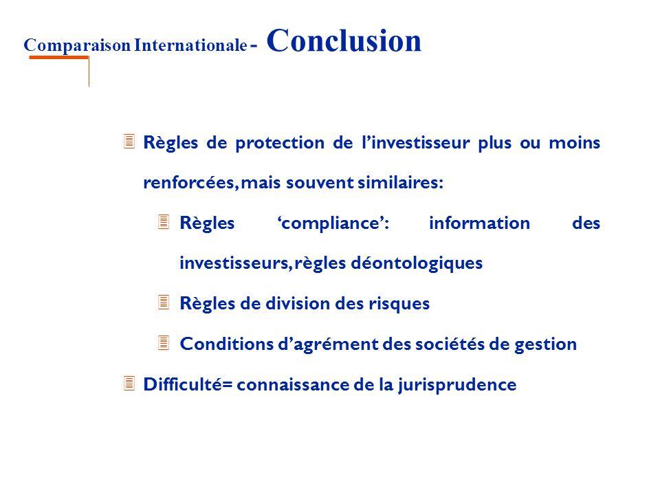 Comparaison Internationale - Conclusion 3 Règles de protection de linvestisseur plus ou moins renforcées, mais souvent similaires: 3 Règles compliance