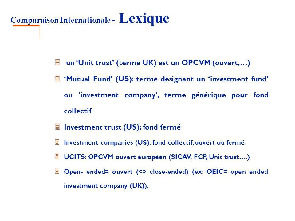 Comparaison Internationale - Lexique 3 un Unit trust (terme UK) est un OPCVM (ouvert,…) 3 Mutual Fund (US): terme designant un investment fund ou inve