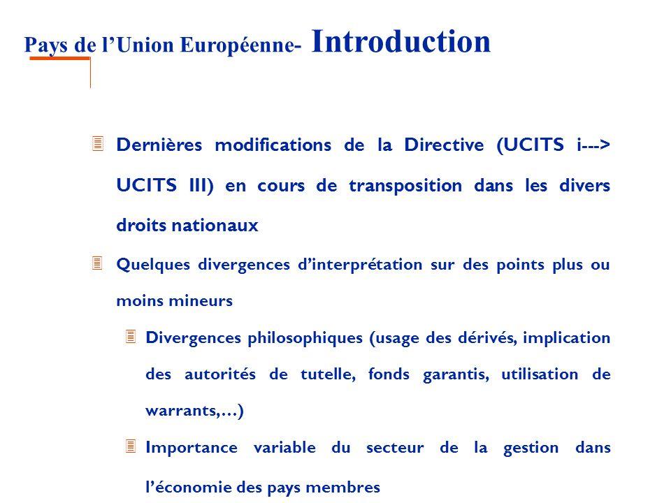 Pays de lUnion Européenne- Luxembourg 3 Evolutions en cours: 3 Transcription de la directive européenne: coexistence des lois de 1988 et de 2002 jusquen 2007 (fin de la période de transition pour la transcription de la directive) 3 Obligation détablir des rapports annuels long form 3 Circulaire sur les fonds alternatifs