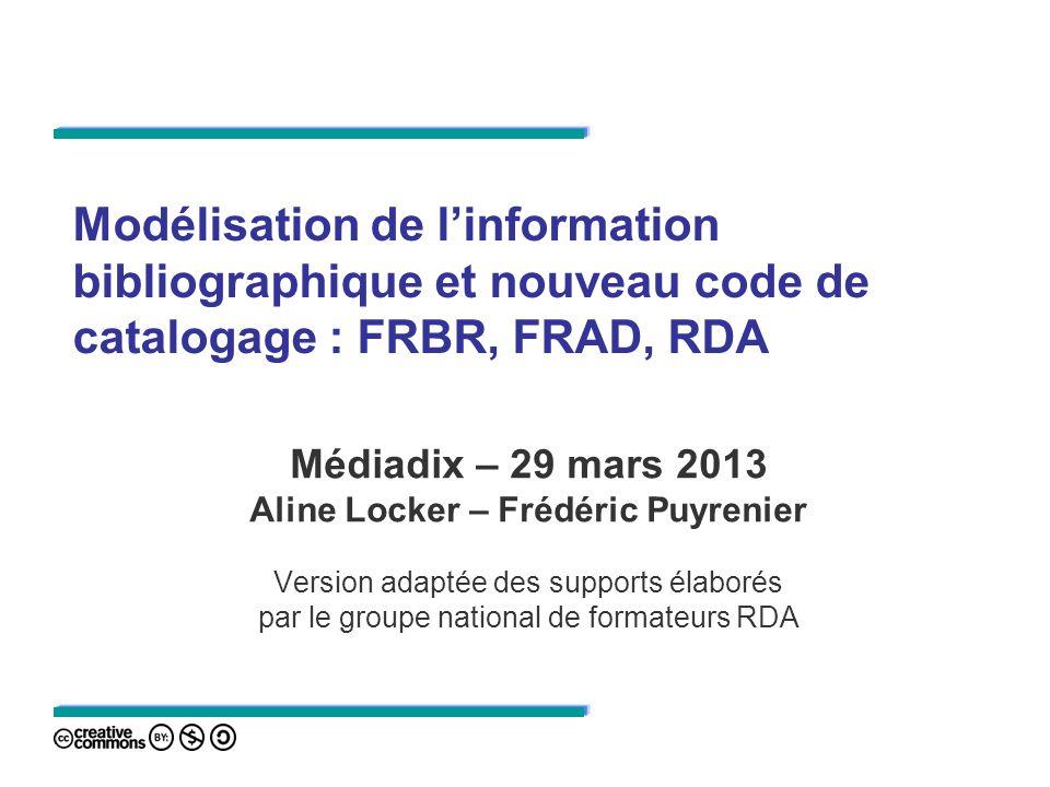 Modélisation de linformation bibliographique et nouveau code de catalogage : FRBR, FRAD, RDA Médiadix – 29 mars 2013 Aline Locker – Frédéric Puyrenier