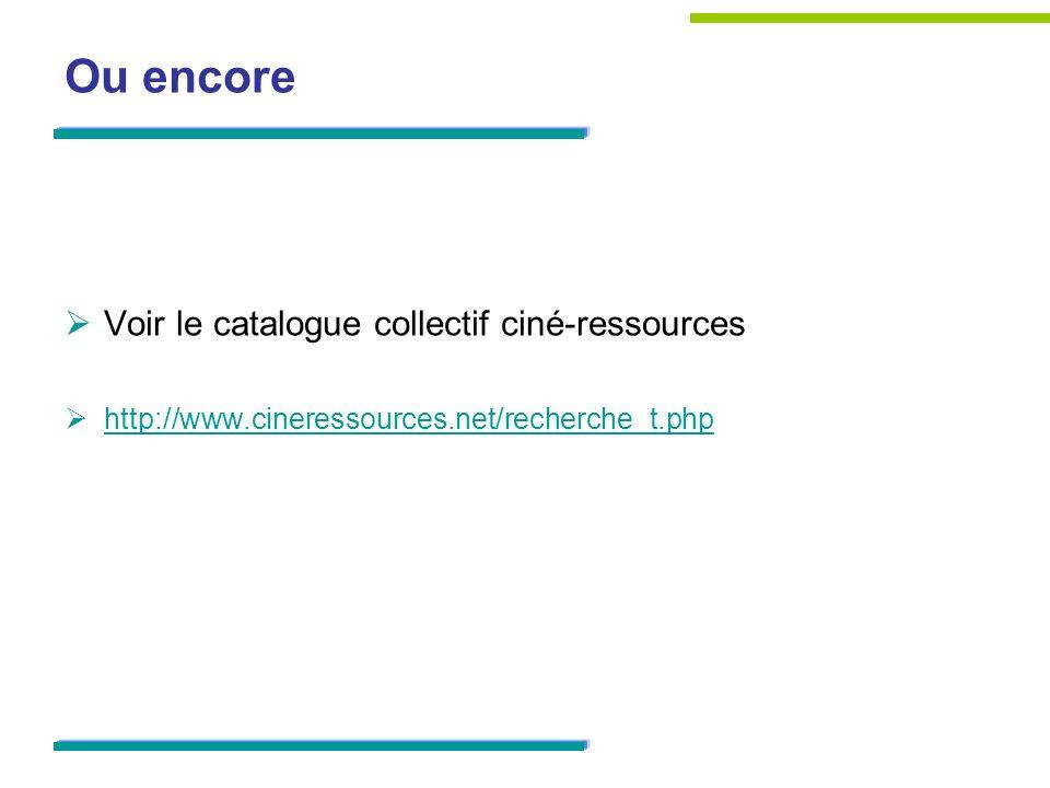 Ou encore Voir le catalogue collectif ciné-ressources http://www.cineressources.net/recherche_t.php