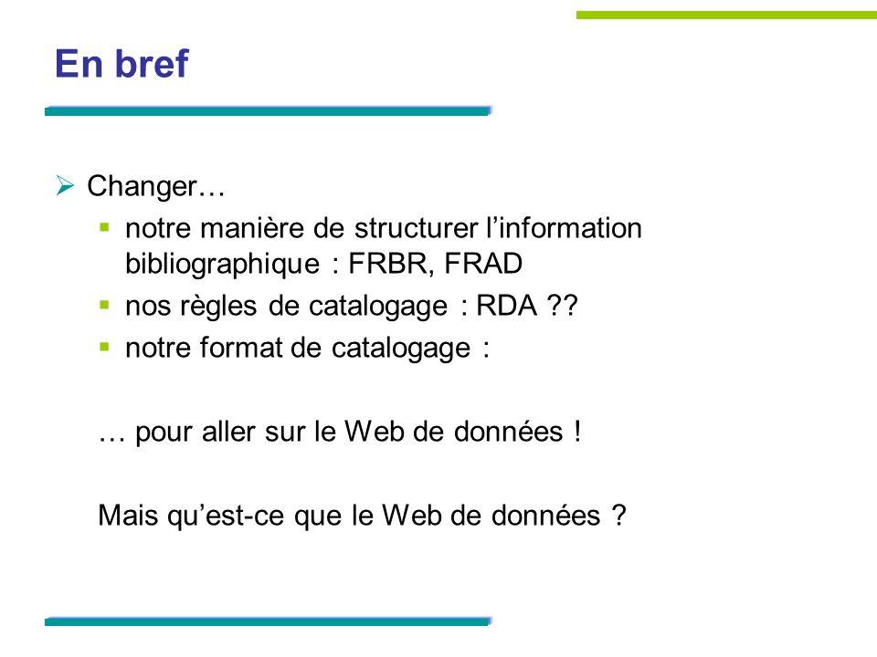 En bref Changer… notre manière de structurer linformation bibliographique : FRBR, FRAD nos règles de catalogage : RDA ?? notre format de catalogage :