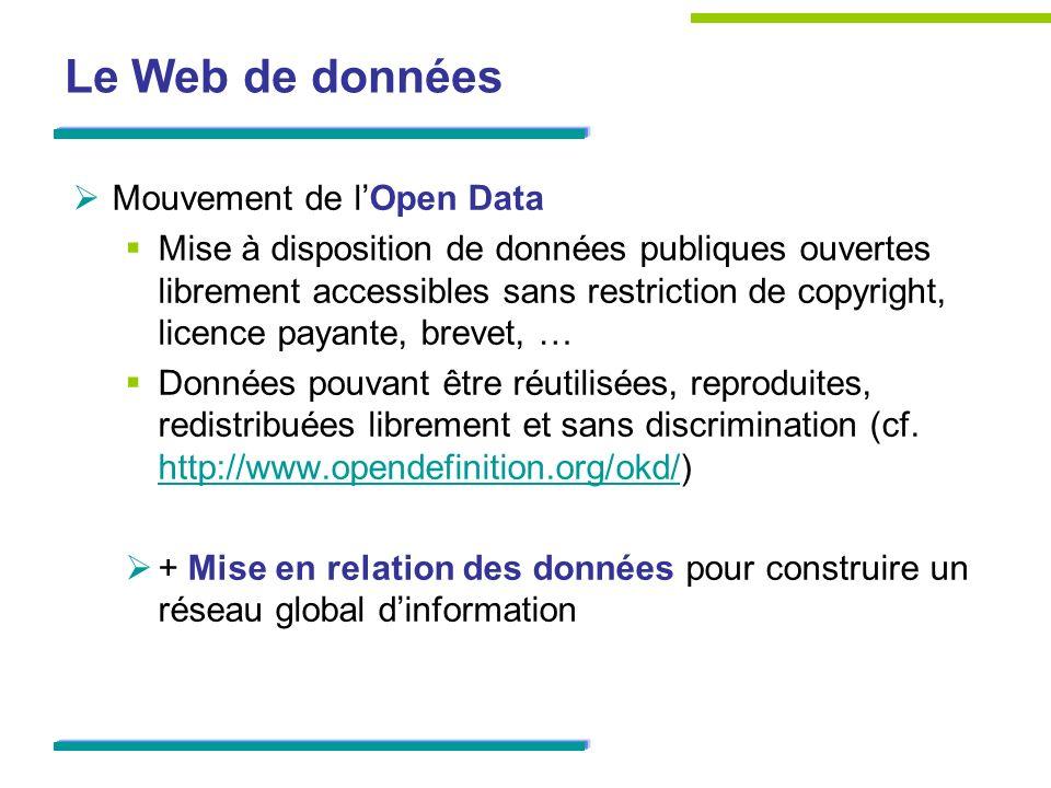 Le Web de données Mouvement de lOpen Data Mise à disposition de données publiques ouvertes librement accessibles sans restriction de copyright, licenc