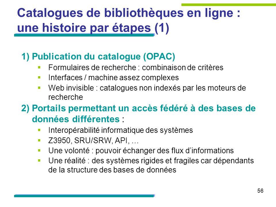 56 Catalogues de bibliothèques en ligne : une histoire par étapes (1) 1)Publication du catalogue (OPAC) Formulaires de recherche : combinaison de crit