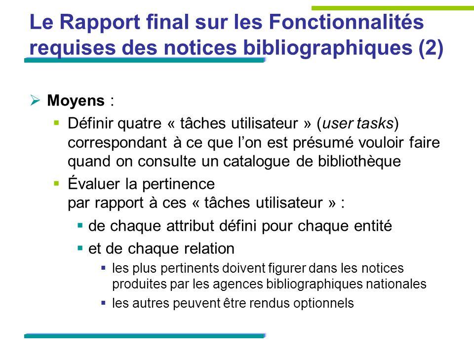 Le Rapport final sur les Fonctionnalités requises des notices bibliographiques (2) Moyens : Définir quatre « tâches utilisateur » (user tasks) corresp