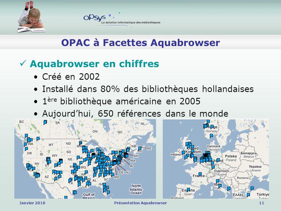 Janvier 2010Présentation Aquabrowser11 OPAC à Facettes Aquabrowser Aquabrowser en chiffres Créé en 2002 Installé dans 80% des bibliothèques hollandaises 1 ère bibliothèque américaine en 2005 Aujourdhui, 650 références dans le monde