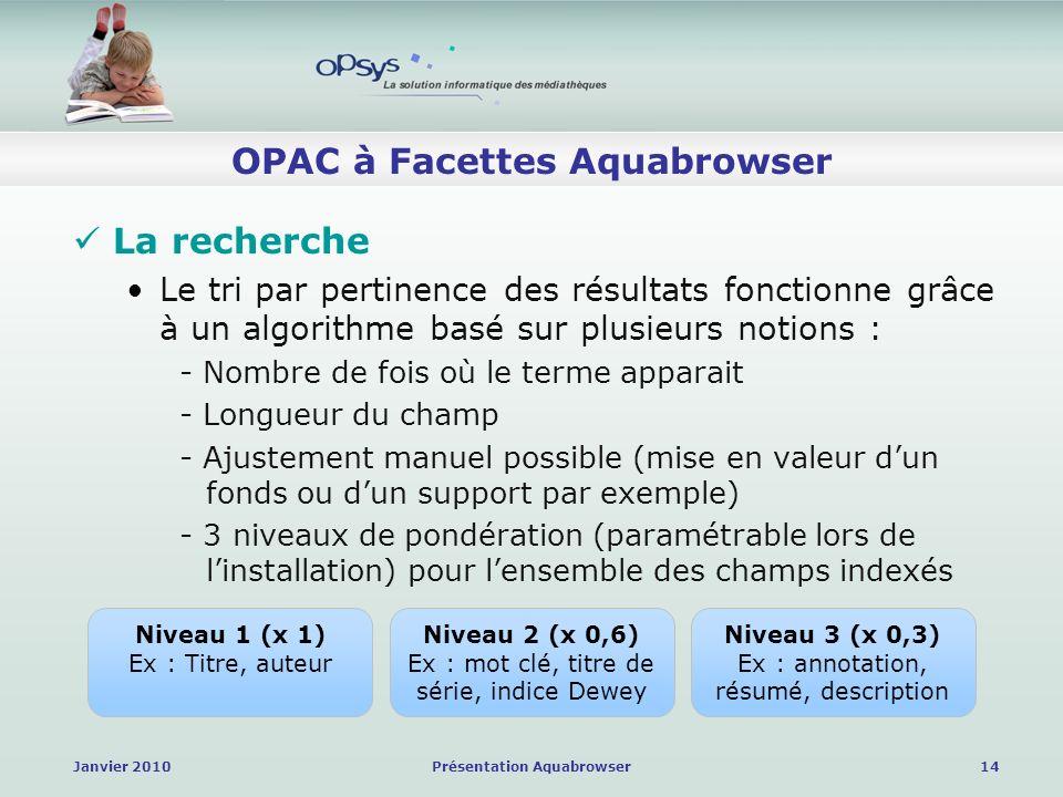 Janvier 2010Présentation Aquabrowser14 OPAC à Facettes Aquabrowser La recherche Le tri par pertinence des résultats fonctionne grâce à un algorithme basé sur plusieurs notions : - Nombre de fois où le terme apparait - Longueur du champ - Ajustement manuel possible (mise en valeur dun fonds ou dun support par exemple) - 3 niveaux de pondération (paramétrable lors de linstallation) pour lensemble des champs indexés Niveau 1 (x 1) Ex : Titre, auteur Niveau 2 (x 0,6) Ex : mot clé, titre de série, indice Dewey Niveau 3 (x 0,3) Ex : annotation, résumé, description