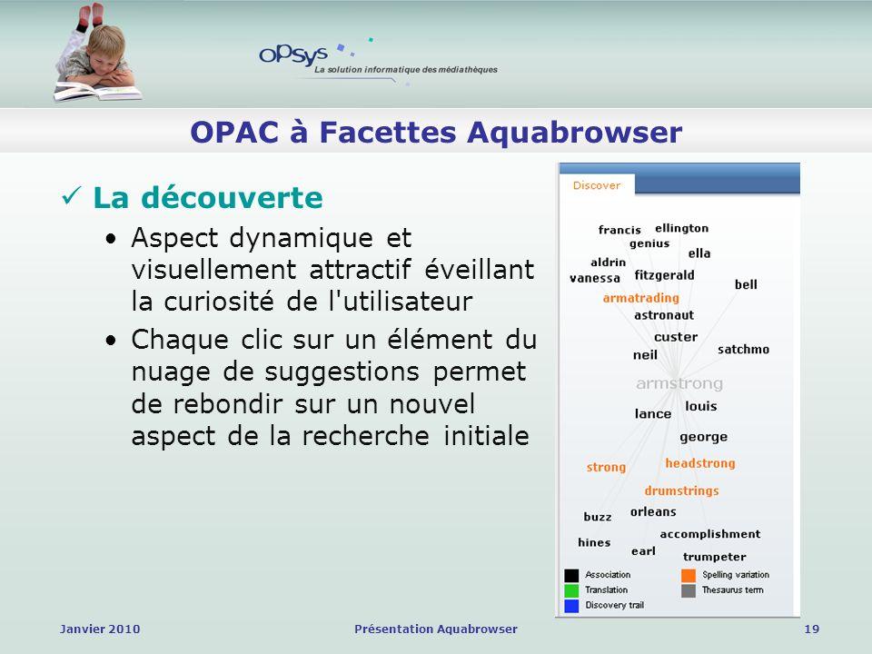 Janvier 2010Présentation Aquabrowser19 OPAC à Facettes Aquabrowser La découverte Aspect dynamique et visuellement attractif éveillant la curiosité de l utilisateur Chaque clic sur un élément du nuage de suggestions permet de rebondir sur un nouvel aspect de la recherche initiale
