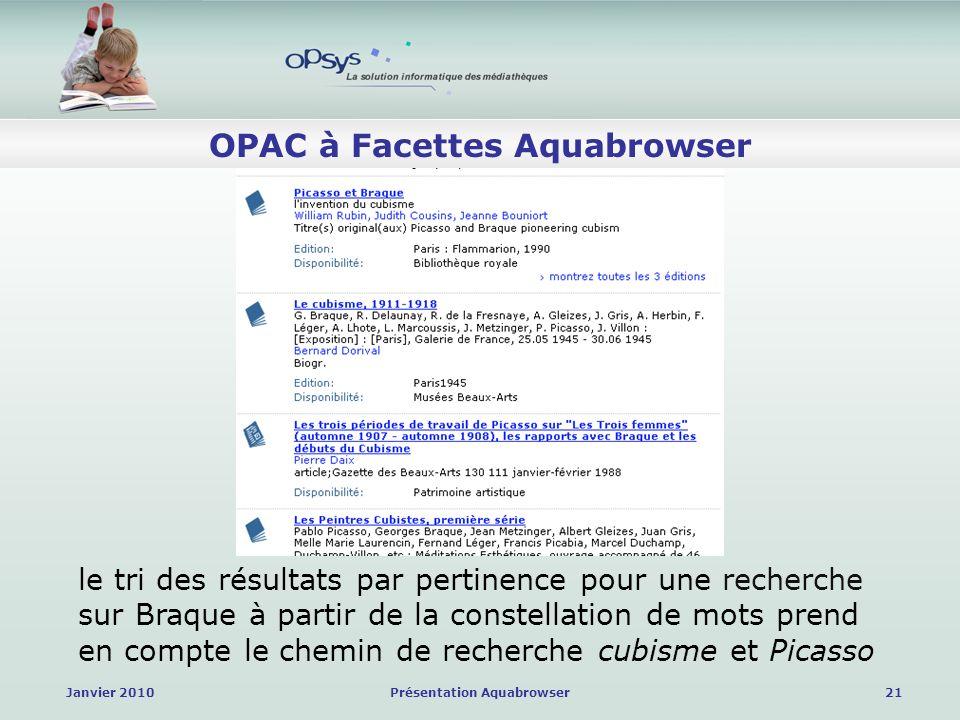 Janvier 2010Présentation Aquabrowser21 OPAC à Facettes Aquabrowser le tri des résultats par pertinence pour une recherche sur Braque à partir de la constellation de mots prend en compte le chemin de recherche cubisme et Picasso