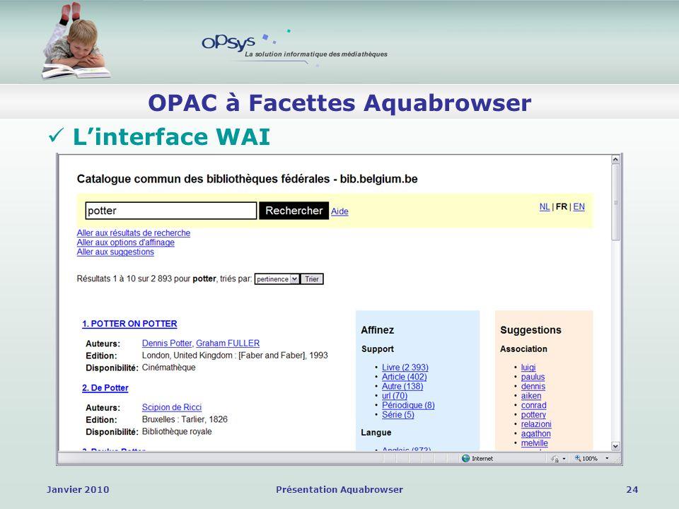 Janvier 2010Présentation Aquabrowser24 OPAC à Facettes Aquabrowser Linterface WAI
