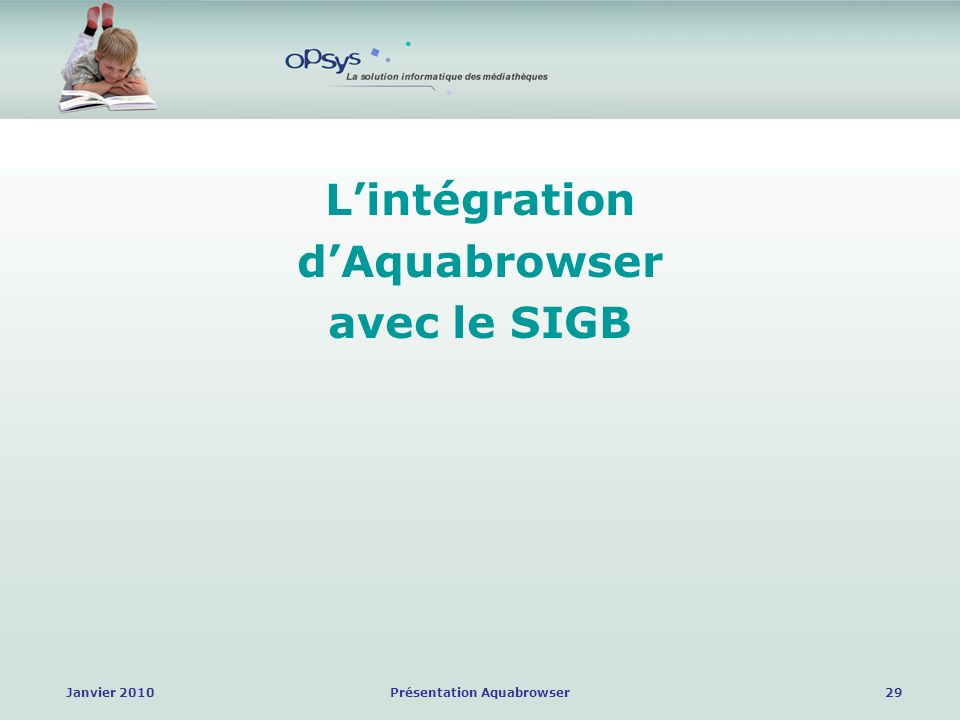 Janvier 2010Présentation Aquabrowser29 Lintégration dAquabrowser avec le SIGB
