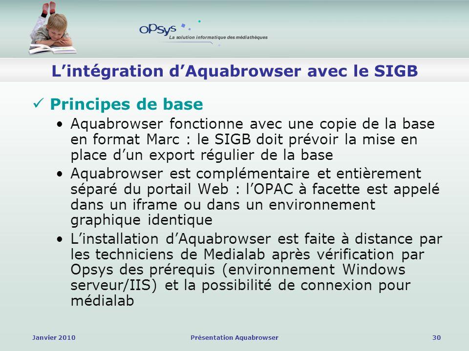 Janvier 2010Présentation Aquabrowser30 Lintégration dAquabrowser avec le SIGB Principes de base Aquabrowser fonctionne avec une copie de la base en format Marc : le SIGB doit prévoir la mise en place dun export régulier de la base Aquabrowser est complémentaire et entièrement séparé du portail Web : lOPAC à facette est appelé dans un iframe ou dans un environnement graphique identique Linstallation dAquabrowser est faite à distance par les techniciens de Medialab après vérification par Opsys des prérequis (environnement Windows serveur/IIS) et la possibilité de connexion pour médialab